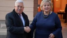 الرئيس عباس ورئيسة وزراء النرويج.jpg