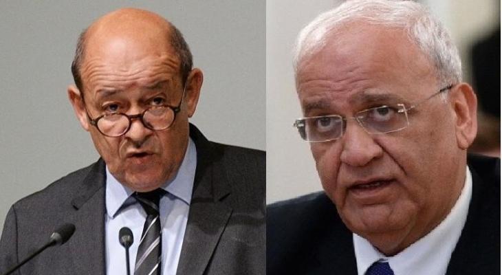 عريقات ووزير خارجية فرنسا.jpg
