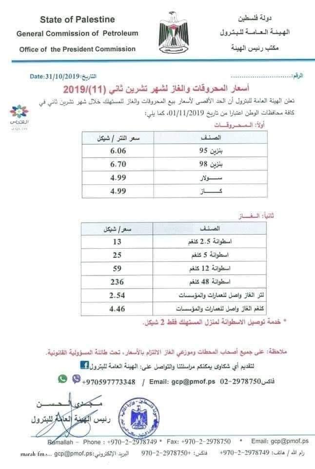 قائمة باسعار المحروقات في فلسطين.jpg