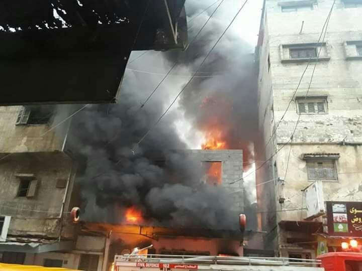 حريق بمحل غزة.jpg