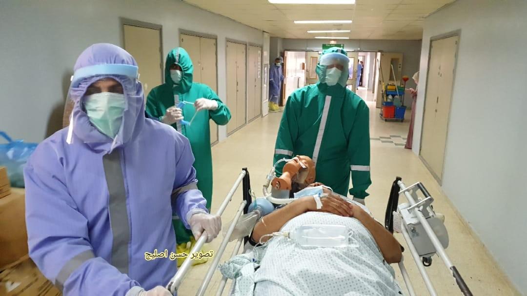 مناورة طبية في الاوروبي تحاكي اصابات بكورونا1.jpg