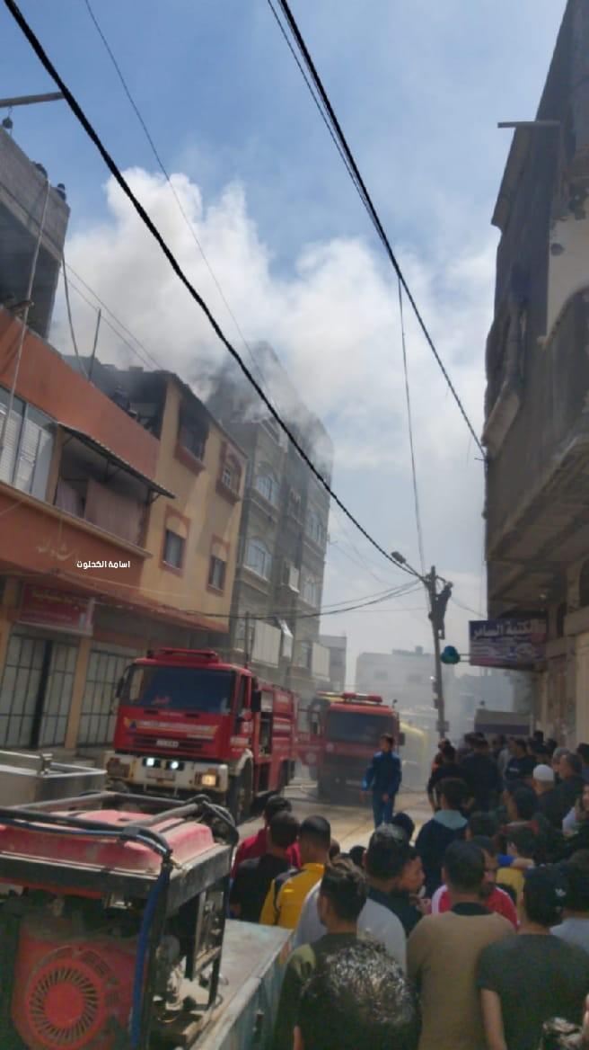 غزة حريق بشقة سكنية.jpg
